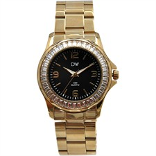 Black Dial Clear Baguette Crystal Gold Stainless Steel Watch1