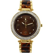 Gold Tone Brown Dial Round Face with Crystals Watch1