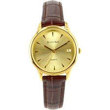 Gold Tone Case on Brown Leather Band with Champagne Dial & Date Watch1