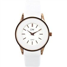 Rose Tone Wide Silver Bezel White Dial Round Face White Leather Watch1
