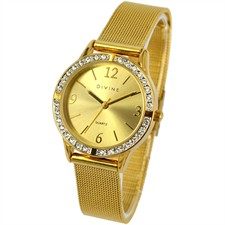 Steel Gold Tone Crystal Dial with  Mesh band Watch1