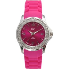 Watch Hot Pink With Round Crystals1