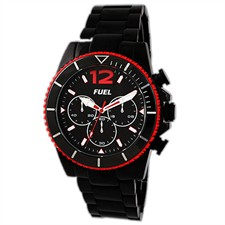 Stainless Steel Case & Bracelet Black & Red Arabic & Baton Chronograph 50M Watch1