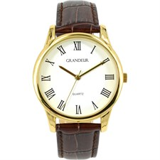 Gold Tone Brown Leather Watch White Roman Numerals1
