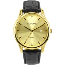 Gold Tone Watch Brown Leather Champagne Dial with Date Function1