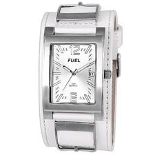 Steel Case White Cuff Silver Arabic & Baton Date 50M Watch1