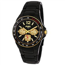 Gold Tone Case Black IP Bracelet Black Arabic & Baton Multi-Function 100M Watch1