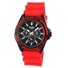 Black IP Case Red Silicone Band Black Baton Multi-Function 100M Watch1